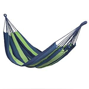909 OUTDOOR Hamaca Colgante Azul y Verde, Hamaca de algodón para jardín y Camping, Hamaca portátil 2 mosquetones, cordón y Bolsa de Nylon, 1 Persona (200 x 100 cm): Amazon.es: Jardín