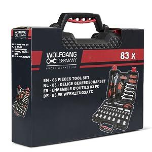WOLFGANG Caja de 83 herramientas manuales, Juego de Puntas de ...