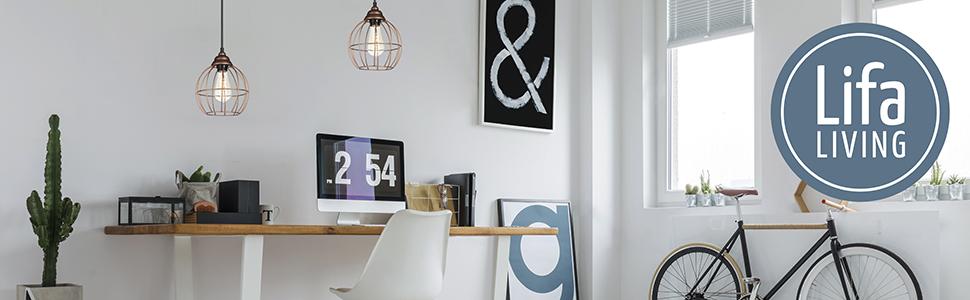 LIFA LIVING Estantería de Pared con 4 estantes, Madera y Hierro, Diseño Vintage Industrial, Forma Hexagonal, para almacenaje de Libros, Fotos, ...