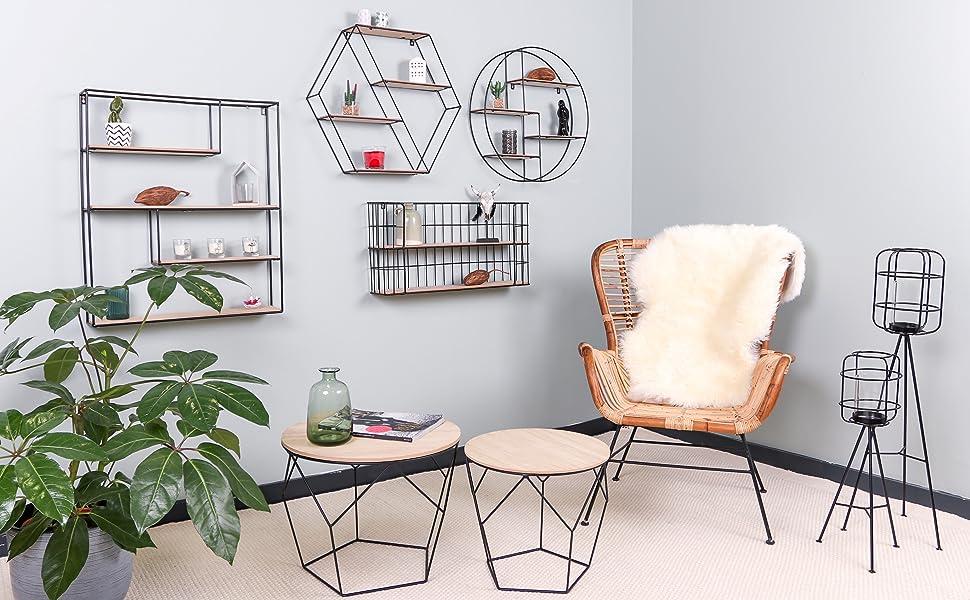 Estantería de pared hexagonal vintage salón dormitorio interior hogar casa decoración flotante