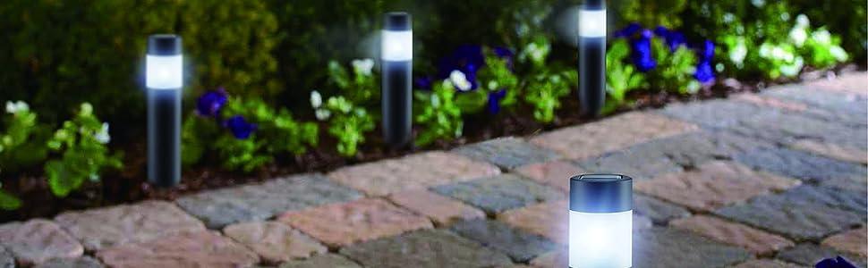 LED LOVERS Poste de Luz Solar LED de jardín, Juego de 4
