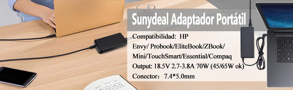 18.5V 3.5A 65W Cargador Adaptador para Ordenador Portátil HP Pavilion G6 G7 DV4 DV5