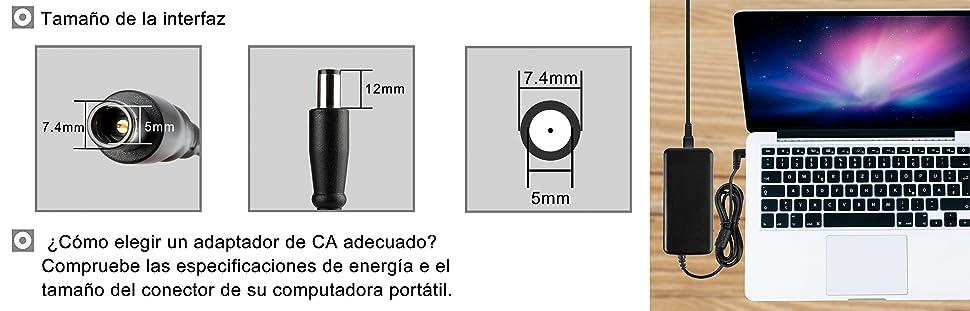 Elitebook 8440P 8460P Compaq Presario CQ57 CQ60 CQ61 7.4x5.0mm HP 3105m 3125 G42