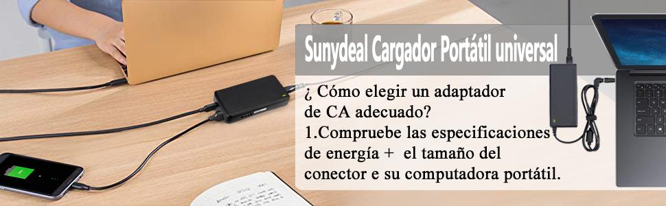 Sunydeal Computadora portátil Cargador Universal Fuente de alimentación Adaptador Cable ordenador 15V 16V 18.5V 19V 19.5V 20V 24V para Acer ASUS Sony ...