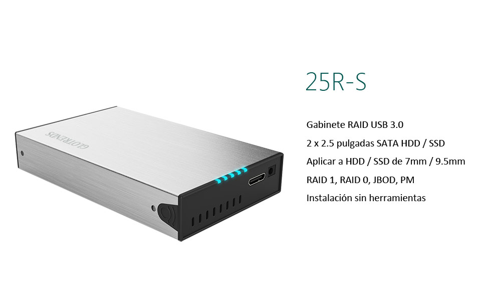 GLOTRENDS 25R-S USB 3.0 Externo Raid Disco Duro Caja para HDD/SSD ...