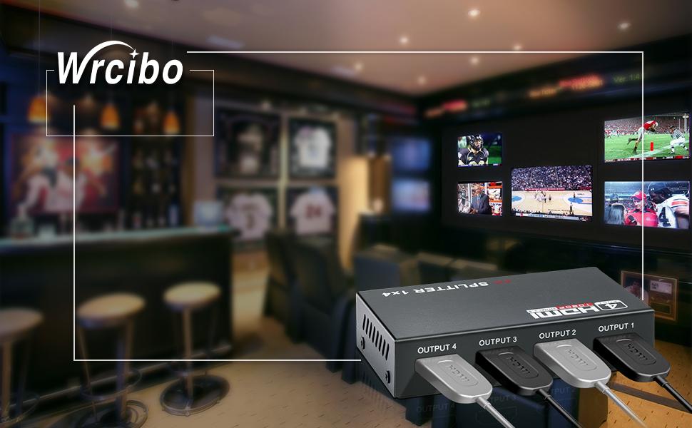 HDMI Switch 1x4, Wrcibo Splitter HDMI Compatible con 3D, 1 Entrada 4 Salidas, 4K2K, Full HD 1080p para PC, DVD, LCD, DLP, HDTV etc – Negro: Amazon.es: Electrónica