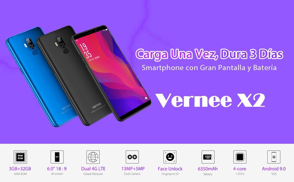 Vernee X2(2019) Móvil Libre Gran Batería 6350mAh, 3GB RAM 32GB ROM ...