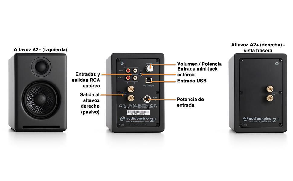 Audioengine A2+ 60W Altavoces de estantería   DAC Incorporado y ...