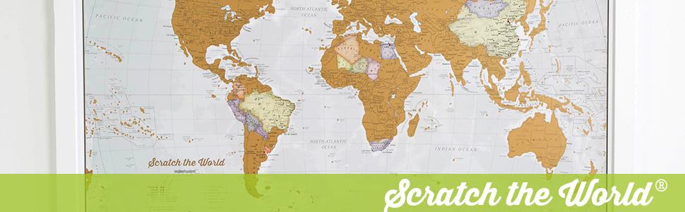 Póster del mapa mundi de rascar con tubo de regalo - extragrande - 84 x 59 cm - Maps International - 50 años haciendo mapas - Detalles cartográficos con el país y