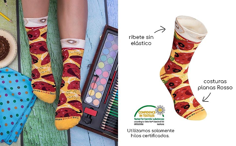 Rainbow Socks - Pizza MIX Italiana Hawaiana Pepperoni Mujer Hombre - 4 pares de Calcetines: Amazon.es: Ropa y accesorios