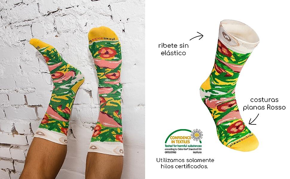 Rainbow Socks - Pizza MIX Italiana Hawaiana Caprichosa Mujer Hombre - 4 pares de Calcetines: Amazon.es: Ropa y accesorios