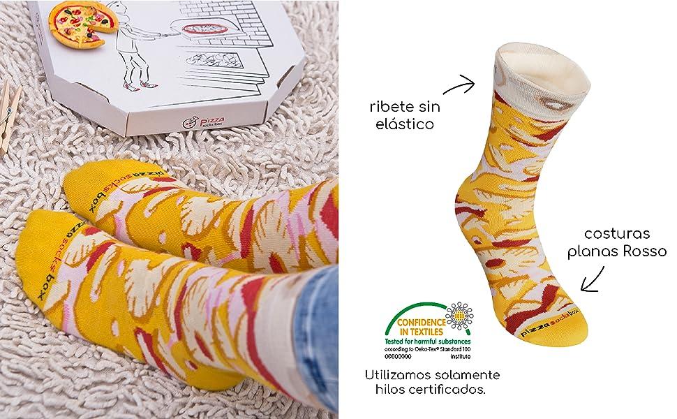 Rainbow Socks - Pizza MIX Caprichosa Hawaiana Pepperoni Mujer Hombre - 4 pares de Calcetines: Amazon.es: Ropa y accesorios