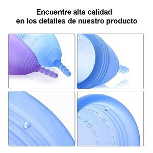 Luvkis copa menstrual reutilizable para mujeres y niñas 2pcs conjunto alternativa de silicona lavable para protección femenina higiénica toallas y ...