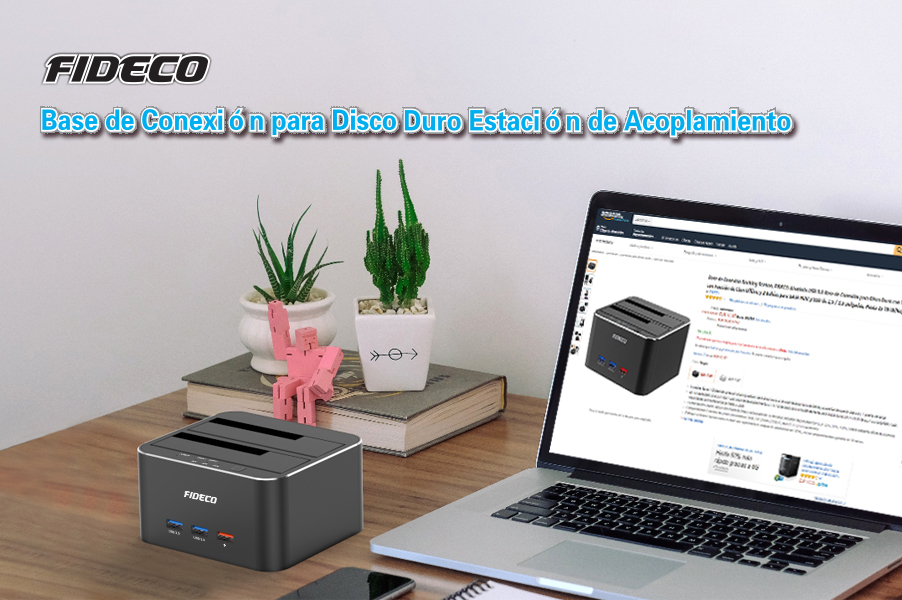 FIDECO Base de Conexión Docking Station, Aluminio USB 3.0 Base de ...