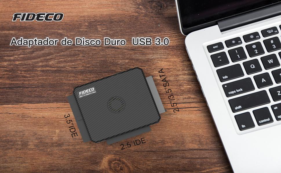 FIDECO Adaptador USB IDE o SATA, Adaptador de Disco Duro USB 3.0 ...