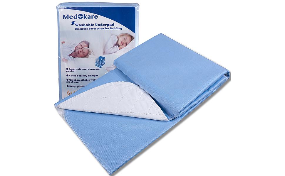 Almohadillas de cama Medokare Almohadillas para mojar la cama - 3 PACK - Almohadillas lavables de grado hospitalario - 36 x 52 pulgadas