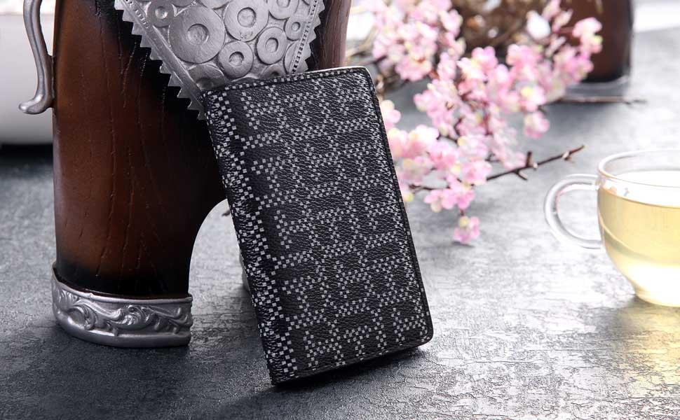 Esta cartera de cuero está hecha de cuero genuino, la artesanía de primera clase, con clase, más suave y duradero, compacto y elegante, tiene espacio para ...