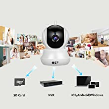 Cámara IP, Cámara de Vigilancia QZT 1080P Wifi con Visión Nocturna, Audio Bidireccional, Giro / Inclinación, Detección de Movimiento, Alarma Email, ...
