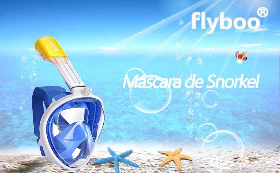 Máscara de snorkel, Flyboo 180 ° vista Máscara de buceo con diseño ...