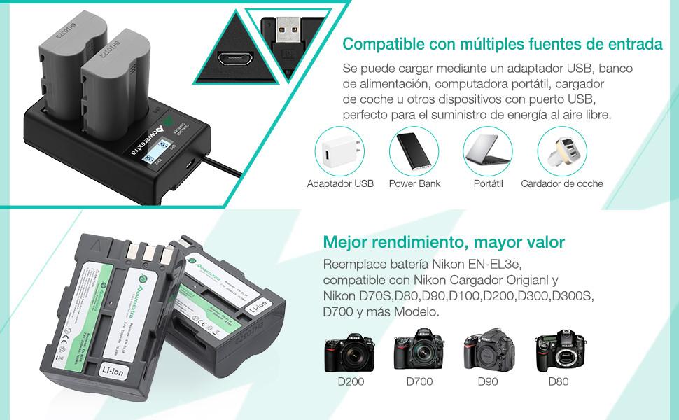 Powerextra Bater/ía Nikon EN-EL3E 2200mAh con Cargador Inteligente Pantalla LCD Nikon EN-EL3 D30 D50 D70 D70S D80 D90 D100 D200 D300 D300S D700