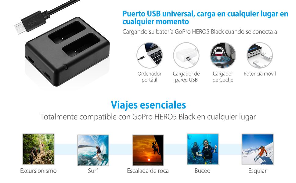 Powerextra Actualizó Batería para GoPro Hero 5 Negro HERO6 ...