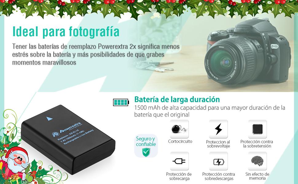 Powerextra Batería Nikon EN EL14 y EN-EL14a con Cargador ...