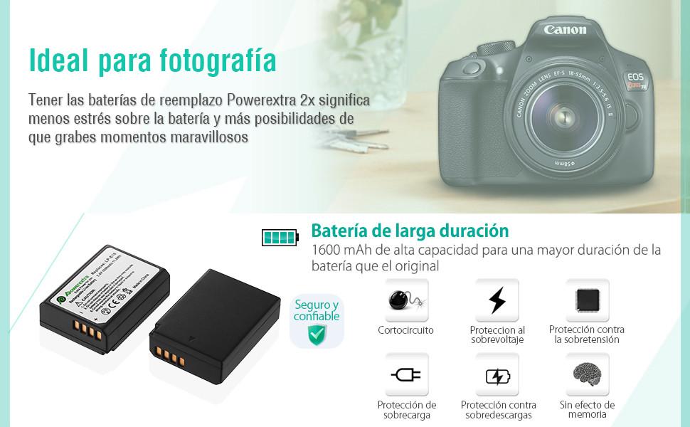 Powerextra Baterías Canon LP-E10 Dual USB Cargador con Pantalla LCD para Canon EOS Rebel T3 T5 T6 Kiss X50 Kiss X70 EOS 1100D EOS 1200D EOS 1300D EOS ...