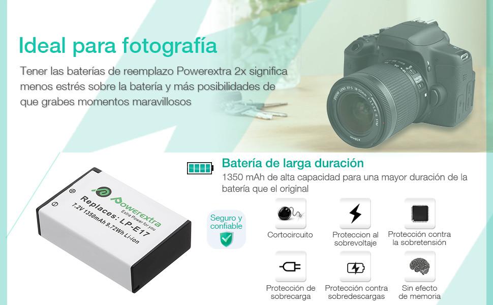Powerextra 2 Pack Baterías para Canon LP-E17 con Dual Cargador USB ...