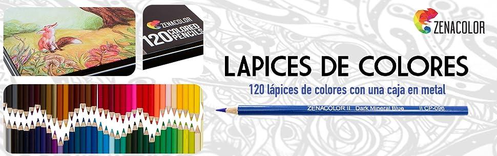 120 Lápices de Colores con Caja de Metal de Zenacolor - 120 Colores ...