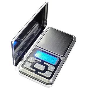 500g x 0,1g Balanza de Bolsillo Digital Electrónica con Pantalla LCD Apta Pesar Joyería