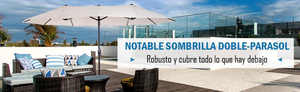 Outsunny Sombrilla Grande 4.6m Parasol Doble Sombrilla Jardín con ...