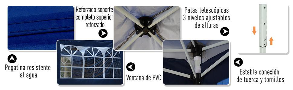 Outsunny Carpa 6x3m Plegable en Acordeon 4 Paneles Laterales 2 ...