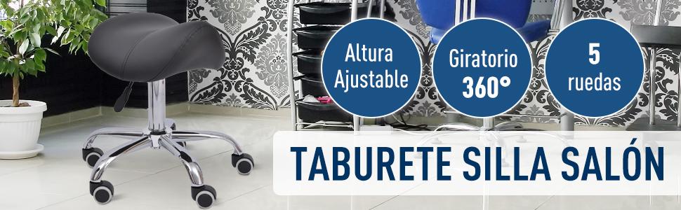 Silla Trabajo Taburete Ruedas Giratorias Taburete Cosmetica Dentista Peluqueria Color Negro