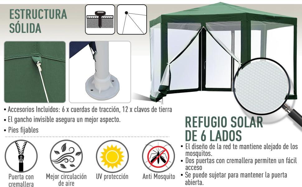 Outsunny Carpa Gazebo Tipo Cenador Hexagonal con Mosquitera para Jardín y Terraza φ3.9m Material de Poliéster Repelente al Agua (Verde): Amazon.es: Jardín