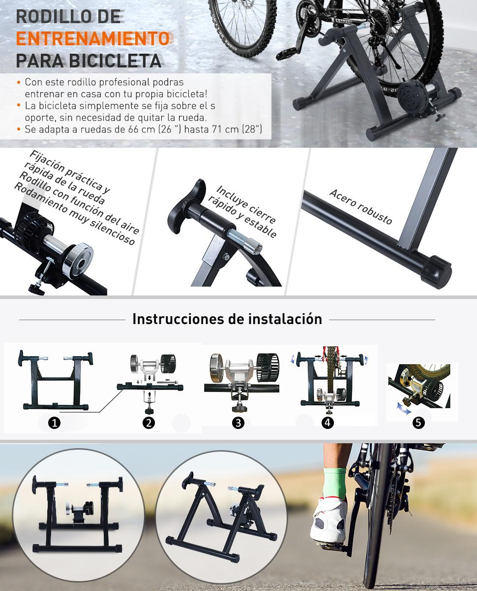 HOMCOM Rodillo Entrenamiento Bicicleta Acero Cicloentrenador Negro ...