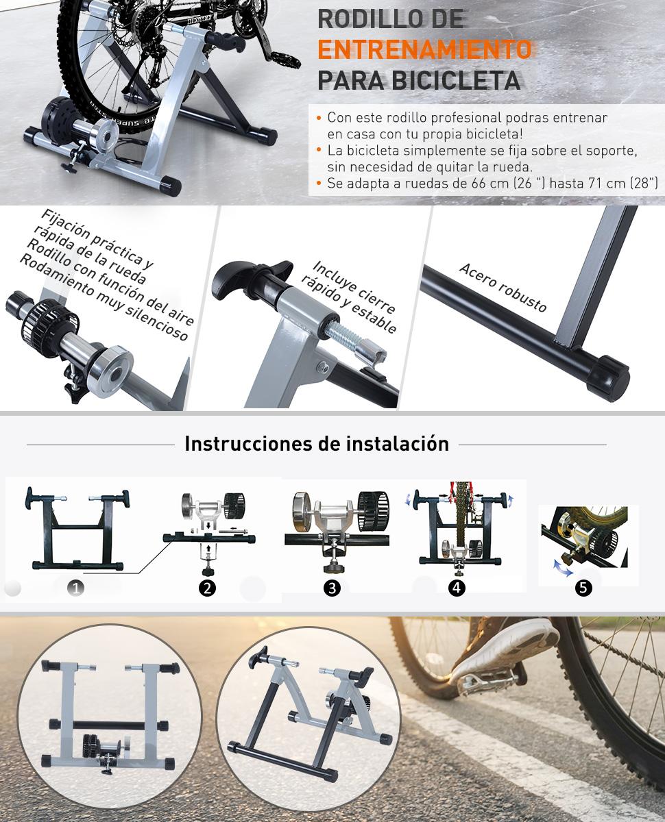 HOMCOM Rodillo Entrenamiento Bicicleta Acero Cicloentrenador Gris ...