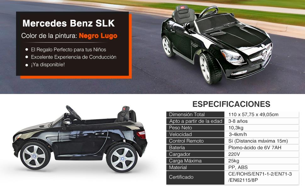 Coche Eléctrico Bateria 6V con Mando Control Remoto para Padres y Conexion MP3 Llaves Encendido Luces de Faros y Claxon Mercedes Benz 81200 Color ...