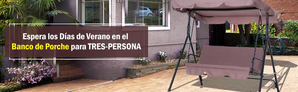 Outsunny Columpio Jardín Tipo Balancín Metal Mecedora Metal 3 Plazas Toldo Regulable Cojín Acolchado Terrza Balcón Exterior 172x110x152cm