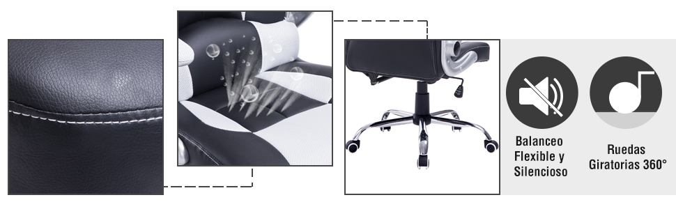 Homcom Silla de Oficina Ejecutiva Reclinable Gaming Tipo Sillón Giratorio de Escritorio con 2 Almohadas 67x69x118-127cm (Blanco)