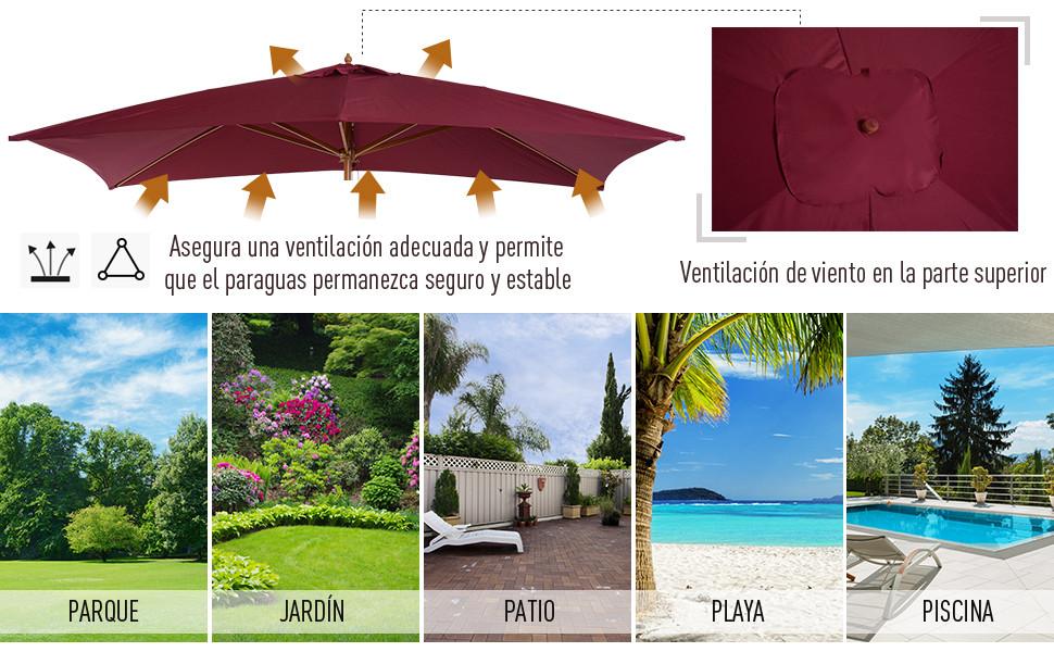 Parasol manivela paraguas balcón paraguas jardín paraguas con manivela ✅ Ø 250 cm
