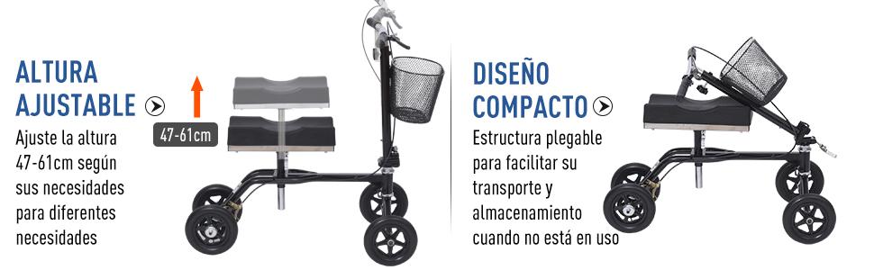 HOMCOM Andador de Rodilla Caminador Plegable Ajustable + Asiento 4 ...