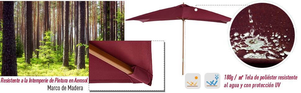 Sombrilla Parasol 2x3x2,45m Jardin Terraza Poliester 180g//m2 y Madera Crema NUE