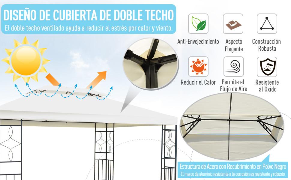 Outsunny Gazebo Cenador para Terraza Jardín Patio - Tipo Carpa Pabellón para Fiesta - 3x4x2.65m: Amazon.es: Jardín