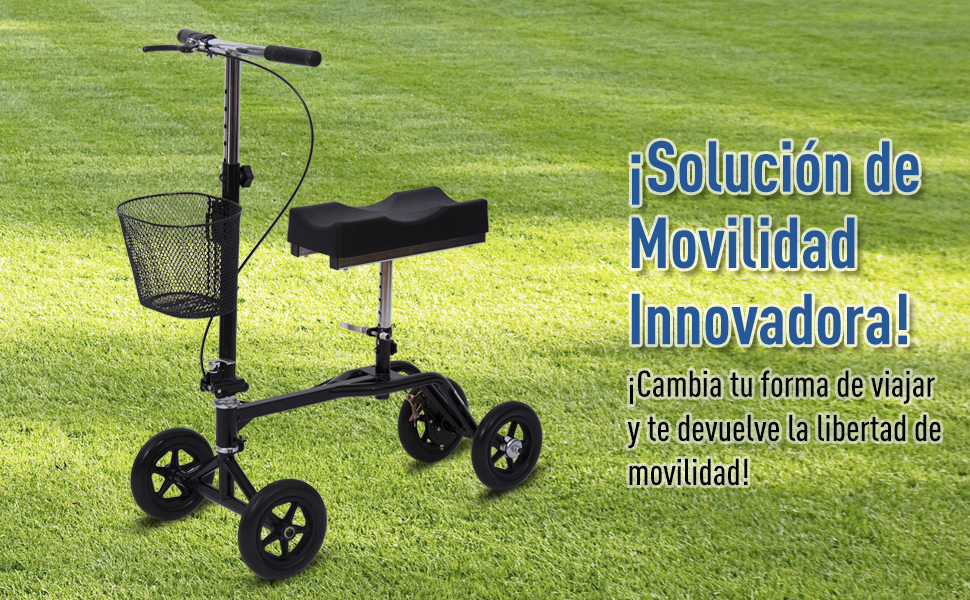 HOMCOM Andador de Rodilla Caminador Plegable Ajustable + ...