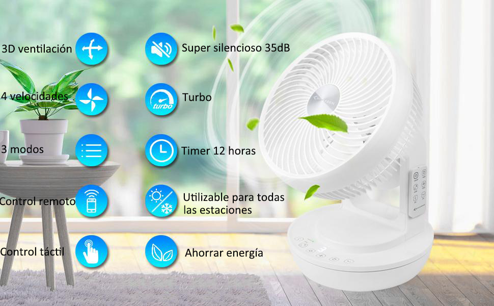 MYCARBON Ventilador Silencioso 35dB Ventilador de Turbo con ...