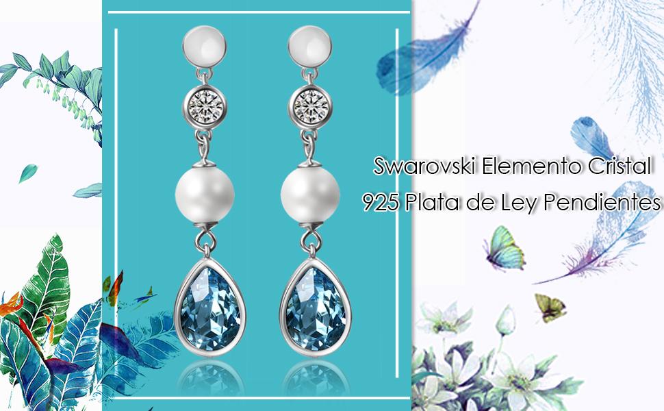 440c3f808ade swarovski pendiente 925 plata ley esterlina mujer regalo san valentín  navidad aniversario azul amor