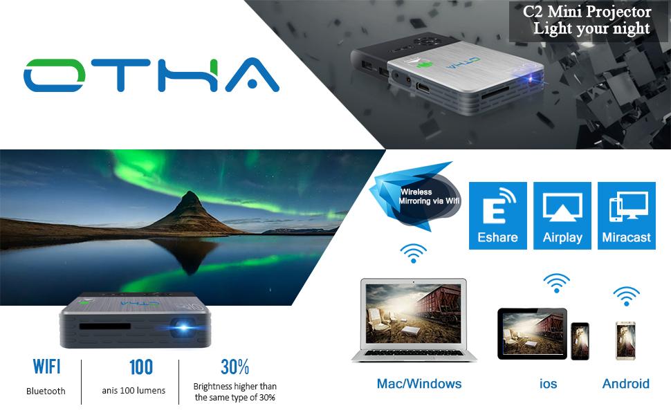 OTHA Mini Proyector Portátil, Pico DLP LED 1080P Full HD Video ...