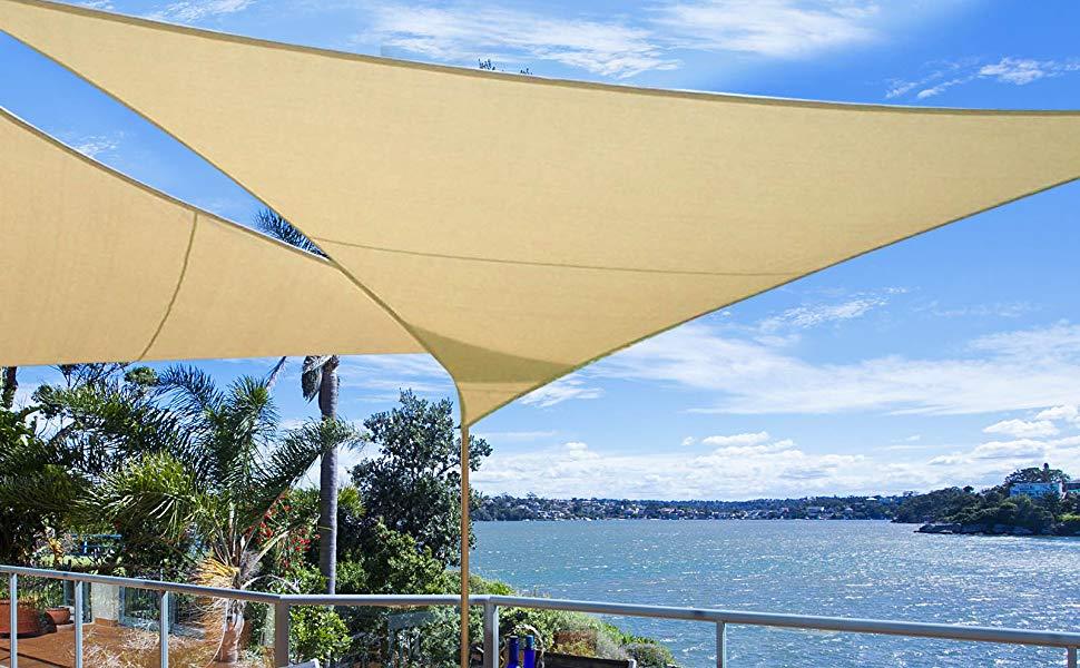 WOLTU Toldo Vela de Sombra Rectangular Prevención Rayos UV Solar protección Piel Resistente y Transpirable para Jardín,Patio, Exteriores Crema 2x3m, ...
