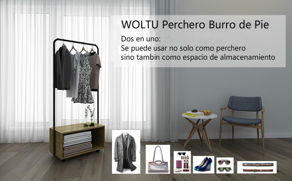 WOLTU Perchero Burro para Colgar Ropas Zapateros Perchero de Pie Marco de Acero 64.5 x 40 x 152 cm SR0061hei