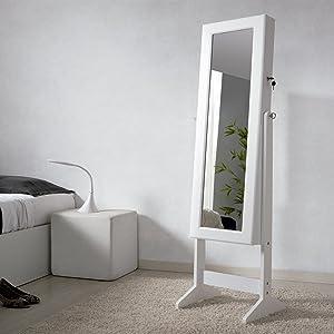Due home espejo joyero xxl 160 cm color lacado blanco y for Espejo joyero xxl